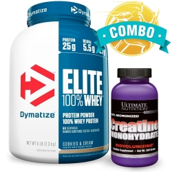 Combo: Elite Whey Protein (2,3kg) - Dymatize + Creatina (300g) - Ultimate Nutrition