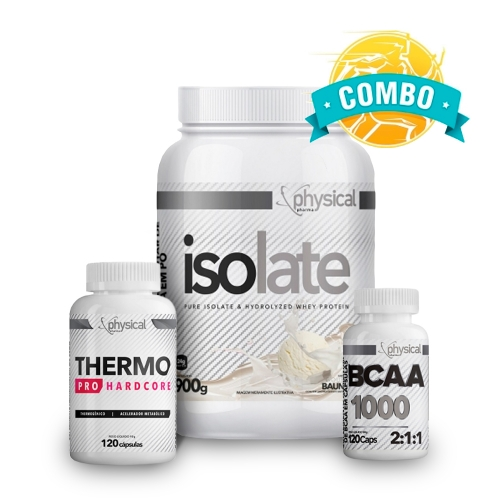 Super Combo Queima de Gordura - BCAA 1000 (120 Cáps) + Therma Pro Hardcore (120 Cáps) + Isolate (900g) - Physical Pharma